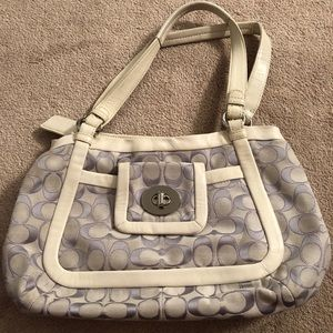 Leather and canvas tri-compartment Coach satchel